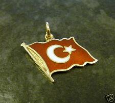 Goldanhänger Türkische Flagge 585er Gold 14 Karat Gelbgold GG Anhänger 1,6 cm