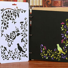 2Pcs Bird Flower Layering Painting Stencils Scrapbooking Templates DIY Craft New