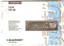 Betriebsanleitung Auto  RADIO Blaupunkt  Radio/Cassette Lyon CC28 Ausg 1998