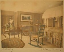 """Original Wallace Nutting Hand Signed & Tinted Photo """"The Quilting Room"""" RARE!!"""