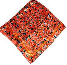 SCARF Large Square Bright Orange Turquoise Green Gold Black CHEETAH SPOTS