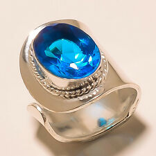 SO BEAUTIFUL AQUAMARRINE 925 STRELING SILVER OVERLAY GEMSTONE RING JEWELLERY