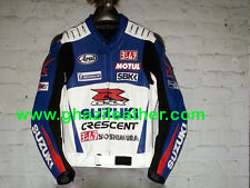 SUZUKI GSXR WHITE & BLUE MEN MOTORCYCLE/MOTORBIKE MOTOGP LEATHER RACING JACKET