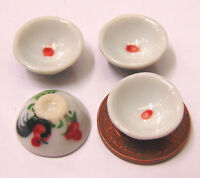 1:12 Scale 4 Cockerel Bowls Dolls House Miniature Ceramic Kitchen Accessory C40