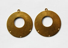 VINTAGE 2 NATURAL BRASS EARRING PENDANT BAILS HOOPS CIRCLE DANGLES stamping 35mm