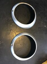Pair 2 Early Style Porsche 911/912 Hella Headlight Trim Rings Silver Used