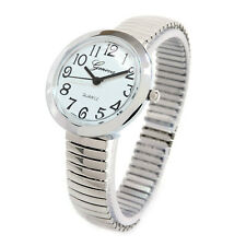 Geneva Silver Medium Size Round Face Stretch Band Women's Watch