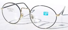 Vintage 90's Classic Round Metal Bi-Focal Reading Glasses +1.75 (Gold/Black)