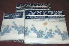 Rare Vtg DAN RIVER Double Bed Sheet Set FLAT Fitted PILLOWCASES Floral USA MADE