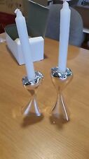 """Silver Heart Shaped Candle Holder Stick 6"""" Pair Set Wedding Anniversary"""