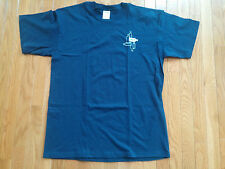 ABSOLUT VODKA BLUE EMBROIDERED T-SHIRT GILDAN MEN'S LARGE LOGO W/ 6 BOTTLES NWOT
