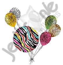 7 pc Wild Zebra Happy Birthday Balloon Bouquet Jungle Safari Colorful Bright 80s