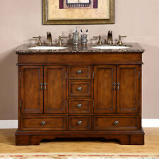 """48"""" Baltic Brown Granite Top Lavatory Double Sink Bathroom Vanity Cabinet 715BB"""