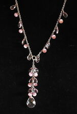 COOKIE LEE Fashion Jewelry PINK  DANGLE NECKLACE Silver tone