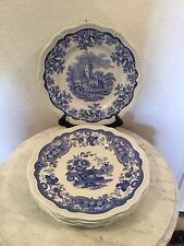 """Spode Blue Room Regency Collection Set Of Six 11"""" Different Scenes Dinner Plates"""