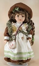 """DanDee Collector's Choice Porcelain Doll 12"""" Braided Brown Hair & Eyes w/Stand"""
