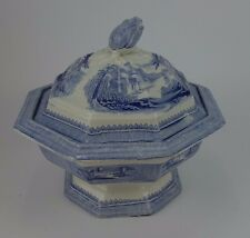 Siam Covered Vegetable Staffordshire Blue Transferware J. Clementson Ironstone