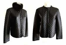 NW Radley Black Leather Quilted Jacket w/ Detachable Genuine Fox Collar - P/S