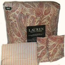 RALPH LAUREN Kaveri Paisley Red 4PC KING COTTON COMFORTER SET NWT