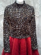 NEW Mock Neck Long Sleeve Top Womens Size L Camo Animal Print So Beautiful!