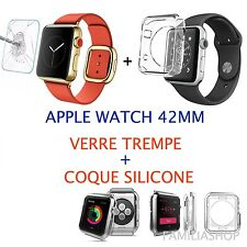 Coque protection transparent souple silicone gel apple watch 42MM + Verre trempé