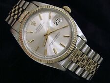 Rolex Datejust Men 2Tone 14K Gold Stainless Steel Oval Jubilee Silver Watch 1601