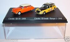 COFFRET ATLAS DUO HO 1/87 2 METAL CITROEN DS ID 19 1958 ID BREAK EUROPE 1 1968