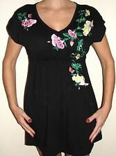 Johnny Was JWLA short black dress S embroidered flora + butterfly ~ delicious