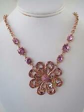 Betsey Johnson rose gold tone~pink crystal~bee necklace, NWT