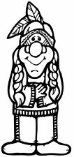 A cartoon native american, Indian, sticker or decal. Die cut great for car