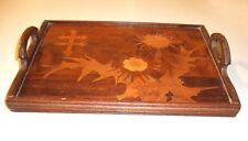 Plateau bois marqueterie chardons croix de Lorraine signé Gallé  -  Art nouveau