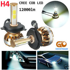 2 Pcs H4 120W CREE COB LED Headlight Kit 6000K 12000lm White Car Bulb Lamp Light