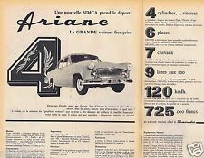 Publicité Advertising 096 1957 Simca Ariane 4