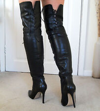 **NEW** REAR LACE Soft Leather High Heel Overknee Over Knee Thigh Boots 4 37 6.5