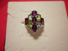 Multi-Color Gemstone Ring in 925 Sterling Silver-Size 8-4.13 Carats
