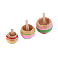 Novelty 3pcs Wooden Colorful Spinning Top Kids Wood Childrens Party Toy RD