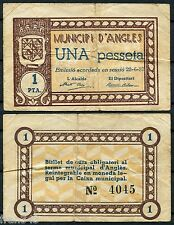 Billete local D'ANGLES 1 Peseta 1937 RC /  VG
