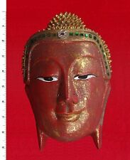 Thai Buddha Face Image - Red/Gold - Carved Wooden Sculpture