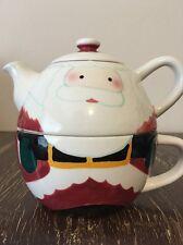 Hand Painted Santa Tea For One Christmas Tea Pot Lid Mug Cup