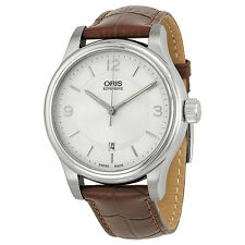 Oris Classic Date Silver Dial Brown Leather Mens Watch 733-7594-4031LS