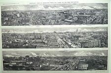 Reproduction of antique 1867 print of Melbourne CBD Central Business District