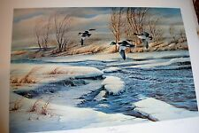 DRIFTING  BY TERRY REDLIN - GOLDEN-EYE DUCKS LIMITED EDITION PRINT OF 960