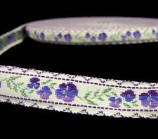 "5 Yds Vintage Purple Flowers Woven Jacquard Ribbon 9/16""W"