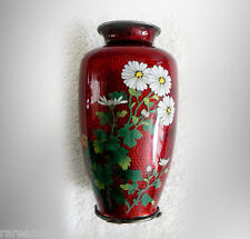 Japanese cloisonne vase with flowers on a red bamboo foil background FREE SHIP