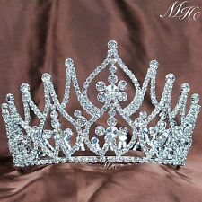 Vintage Handmade Tiara Round Crown Clear Rhinestone Crystal Beauty Pageant Party