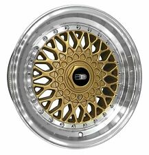 1 - 16x9.0 BBS RS Style Replica Wheels Rims 4x100/5x100 Gold w Polished Lip