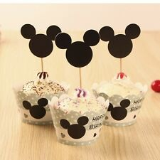 24Pcs Black Mickey Cupcake Wrapper&Toppers Liner Cake Kids Birthday Supplies