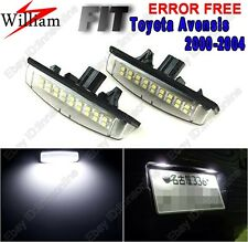 2pc White LED License Number Plate Light For Toyota Avensis Verso/Echo 2000-2004