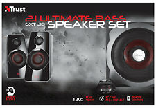 NEW TRUST 2.1 GXT38 120W ULTIMATE BASS SPEAKER SET FOR PC WII SONY PS3 XBOX360