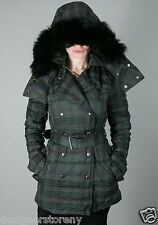 BURBERRY BRIT Hooded 'Hartleigh' Quilted Plaid Goose Down Jacket size XS